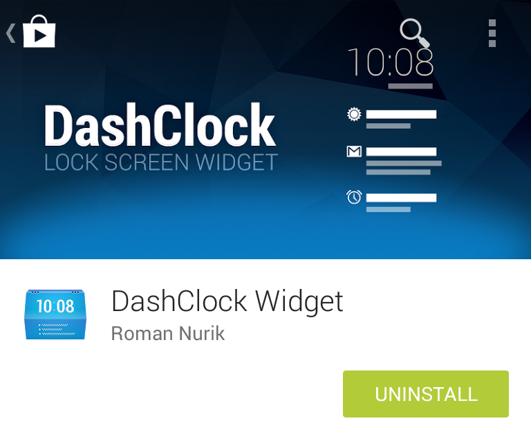 Google Play install screen for Dashclock Widget