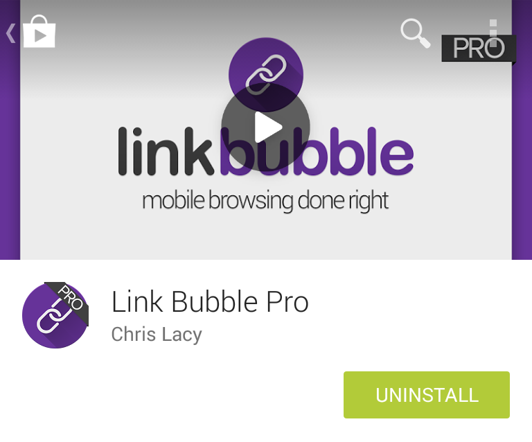 Google Play install screen for Link Bubble Pro